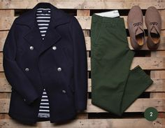 Green Trousers and blue peacoat...