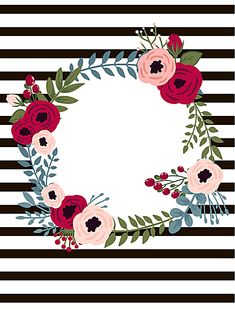 Holly Frame Floral Diseño Antecedentes Framed Wallpaper, Cute Wallpaper Backgrounds, Flower Wallpaper, Cute Wallpapers, Binder Cover Templates, Binder Covers, Frame Floral, Flower Frame, Painted Ukulele