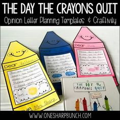 """Get your little learners excited about opinion writing with """"The Day the Crayons Quit"""" and this super cute crayon craftivity! Your kiddos are sure to be engaged as they complete this persuasive letter (You Are My Favorite Writing) Kindergarten Writing, Teaching Writing, Student Teaching, Teaching Ideas, Creative Teaching, Creative Writing, Second Grade Writing, First Grade Reading, Library Lessons"""