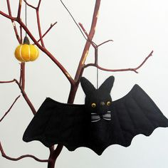 Items similar to Bat Halloween decor : needle felted bat ornament with a bow tie and yellow pumpkin on Etsy Diy Halloween, Whimsical Halloween, Halloween Ornaments, Halloween 2017, Halloween House, Halloween Themes, Halloween Stuff, Needle Felted Animals, Needle Felting