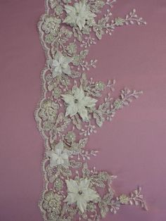 BEADED+Floral+Lace+Trim++NAOMI+in+White+or+Ivory+by+allysonjames,+$98.98