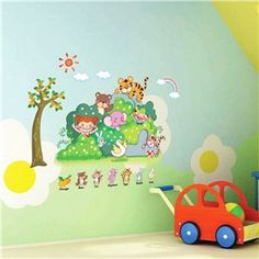 Cartoon Colorful Animals and Children Children Room Bedroom Living Dining Room Entrance PVC Wall Stickers
