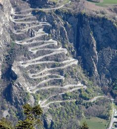 """Col du Chaussy is a high mountain pass 5,030 feet above the sea level in the Savoie department in the Rhône-Alpes region in south-eastern France.  """"It climbs sharply via 17 hairpins tightly stacked one on top of another"""" in less than 2 miles! - photo from dangerousroads"""