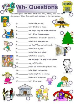 A collection of English ESL Questions: WH questions (open-ended questions) worksheets for home learning, online practice, distance learning and English class. Teaching English Grammar, English Worksheets For Kids, English Lessons For Kids, Kids English, English Activities, Grammar Lessons, English Language Learning, English Words, English Vocabulary
