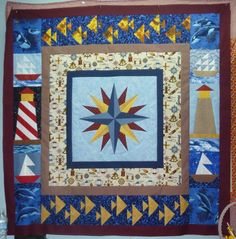 Nautical Star Paper Pieced Quilt + Free Mariner's Compass Pattern