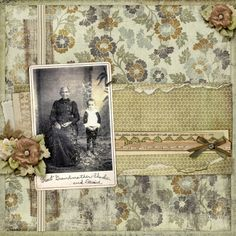 Great Grandmother and David ~ Patterned vintage background papers set the tone for a pretty heritage portrait page.