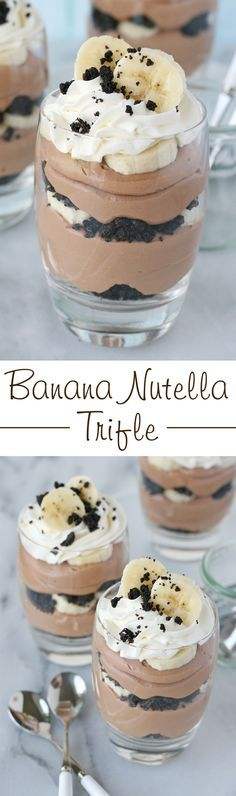 Trifle This simply INCREDIBLE layered dessert includes Nutella, bananas, oreos and whipped cream. what more could you dream of?This simply INCREDIBLE layered dessert includes Nutella, bananas, oreos and whipped cream. what more could you dream of? Yummy Treats, Sweet Treats, Yummy Food, Trifle Recipe, Pudding Recipe, Easy Desserts, Dessert Recipes, Cake Recipes, Baking Desserts