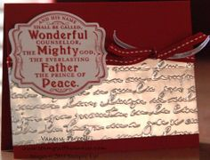 "Prince of Peace, Pretty Print, Silver Foil Sheets, Deco Labels Collection Framelits, Silver 1/8"" Ribbon, Real Red 1/4"" Stitched Grosgrain Ribbon"