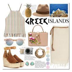 """paradise: greek islands"" by douglasmacedo ❤ liked on Polyvore featuring Dolce&Gabbana, Le Specs, Miguelina, Rosantica, Chloé, Burberry, Deborah Lippmann, Monica Vinader, Packandgo and greekislands"