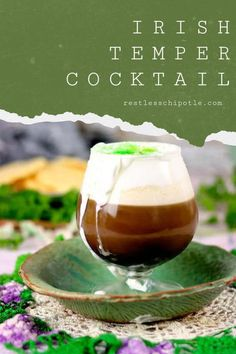 An intriguing spin on classic Irish Coffee! The Irish Temper is made with Bailey's Irish Cream, spiced rum, and espresso then topped with a thickened, slightly sweetened cream, and garnished with a little cinnamon Easy Drink Recipes, Best Cocktail Recipes, Tea Recipes, Coffee Recipes, Brunch Recipes, Yummy Recipes, Irish Coffee, Baileys Irish Cream Coffee, Classic Cocktails