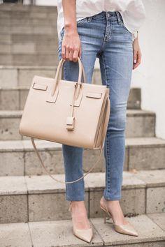 @krystalschlegel classic blue denim and white tee #fashion