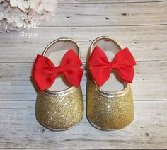 Red and Gold Christmas Outfit Gold Baby by SweetBabyGirlShoppe