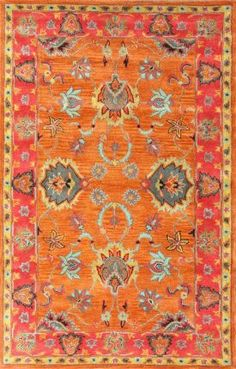 "Rugs USA Overdye RE21 Multi Rug $761 (50% off that) 7'6""x9'6"" orange, red, turquoise, yellow"
