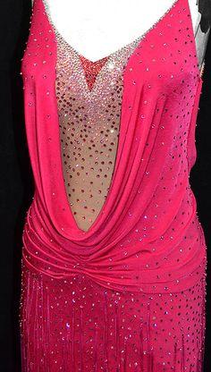 Latin dance costume, raspberry slinky with fringe and skin tone bodysuit Latin Ballroom Dresses, Latin Dresses, Ballroom Dance, Dance Dresses, Dance Moms Costumes, Latin Dance, Dance Wear, Costume Ideas, Designer Dresses