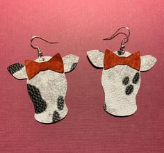 Faux Leather Cow Earrings on Mercari Diy Leather Earrings, Leather Keychain, Diy Earrings, Handmade Leather Jewelry, Custom Jewelry, Bead Crafts, Jewelry Crafts, Cowgirl Bling, Cricut Creations