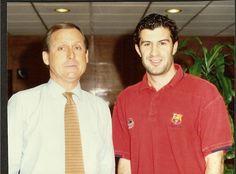 Con Luis Figo, cuando era jugador del Barça...