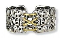 Charles Krypell Sterling Silver & 18K Yellow Gold Ivy Collection Bangle