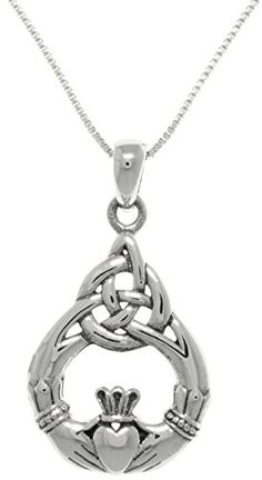 Jewelry Trends Sterling Silver Celtic Claddagh Teardrop Knot Pendant on 18 Inch Box Chain Necklace ** You can find more details by visiting the affiliate link Amazon.com.