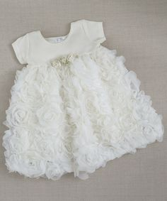 Ivory Chiffon Rosette Dress - Infant & Toddler by Truffles Ruffles #zulily #zulilyfinds