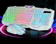 Colorful Illuminated Backlit USB Wired Pro Gaming White Keyboard and Mouse set