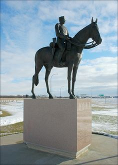 """The March West"": Amazing Mountie sculpture in Emerson, Manitoba. ""In remembrance of the 300 members of the newly formed North West Mounted Police who set out on their famous march west from nearby Fort Dufferin on the 8 July 1874 to bring law and order to the western Canadian frontier."" #exploremb"