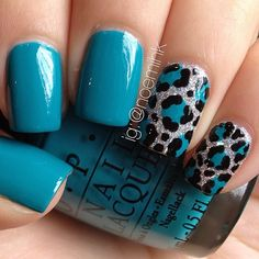 Leopard Print Nails design . Used Fly & Which Is Witch by OPI and Glistening Snow & Liquid Leather by China Glaze. - @noemihk-