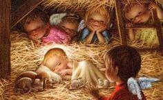 cute representation of the Nativity scene. Christmas Jesus, Christmas Blessings, Christmas Nativity, Christmas Art, Christmas Holidays, Xmas, Vintage Christmas Cards, Christmas Pictures, Clipart Noel