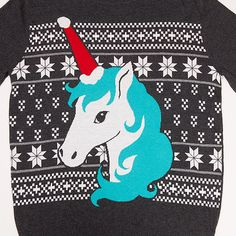 """Bring some magical whimsy to your holidays when you wear this Festive Unicorn Holiday Ladies' Sweater! Nothing says """"party!"""" like mythical creatures, and the Santa-hat-patterned horn infuses the holiday with cheer."""