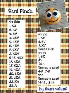 Finch Crochet Symbols, Crochet Chart, Crochet Motif, Diy Crochet, Crochet Dolls, Crochet Patterns, Amigurumi Tutorial, Amigurumi Patterns, Hello Kit