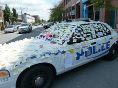 Finding Awesome: Love Notes  ~~~ After the riots that broke out in Vancouver, a police cruiser downtown is spontaneously plastered with thank you notes and messages of support from every day Vancouverites.