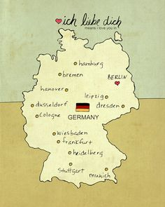 Ich liebe dich Germany. Coming in a variety of colours, this wee little map of Germany can be purchased from Etsy.