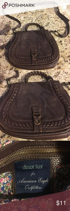 American Eagle Outfitters Leather Crossbody Bag Due Leux for American Eagle Outfitters leather crossbody bag. Very cute braided detailing! It does show some wear on it (see pictures) but it is in very good conditioner overall. The inside is in great condition. Comes from a smoke free home. Very cute for fall! American Eagle Outfitters Bags Crossbody Bags