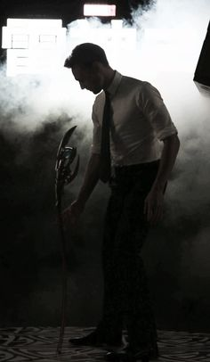 Tom Hiddleston with Loki's scepter!