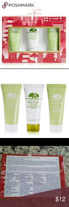 Origins Youth Protecting Power Trio Set New In Box This must have Origins set has :  Modern Friction - Nature's gentle dermabrasion 15 ml  A Perfect World - age defense skin guardian with white tea - 15 ml  A Perfect World SPF 25 - age defense moisturizer with white tea - 15 ml  New in box Sephora Makeup