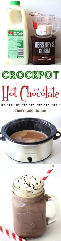 Crockpot Hot Chocolate Recipe! ~ from TheFrugalGirls.com ~ this Slow Cooker Hot Cocoa is the BEST Hot Chocolate ever... and so fun at Parties and Holidays!