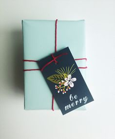 floral be merry tags