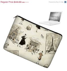 Laptop Sleeve 13 inch MacBook Case Apple MacBook Pro 13 Case zipper padded - Tres Chic Black. $35.99, via Etsy.