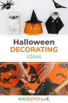 A collection of Halloween decorating ideas. Great for the classroom or decorating around the house. Kids will love helping with these creative ideas. Decor Style Home Decor Style Decor Tips Maintenance Halloween Activities For Kids, Activities For Boys, Toddler Halloween Costumes, Halloween Kids, Toddler Crafts, Preschool Crafts, Crafts For Kids, Halloween Arts And Crafts, Halloween Decorations