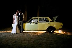 Yes yes yes: bride, groom, and Datsun 510