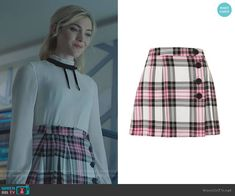 The Frost Sisters wear this pink tartan kilt miniskirt from Topshop on The Gifted The Gifted Tv Show, Fashion Tv, Fashion Outfits, Short Skirts, Mini Skirts, Tartan Kilt, Plaid Outfits, Tie Neck Blouse, Plaid Mini Skirt