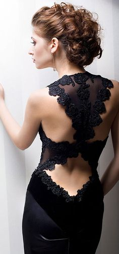 Beautiful back detail dress ~ LOVE this hair style. If my son Kyle EVER gets married and has a big wedding, this is how I want my hair done.