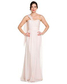 Marchesa Notte Blush Ruched One-Shoulder Silk Chiffon Gown