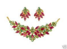 Traditional Ruby Emerald Pendant With matching Earrings, Gleam Jewels