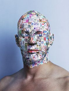 """Dutch director and photographer Paul Ruigrok van der Werven created this usual piece of postage art appropriately called """"Mister Stamphead"""": Link - via Design Dautore. Michel De Montaigne, Airbrush Art, Art Plastique, Face Art, Daily Inspiration, Design Inspiration, Postage Stamps, Photo Art, Design Art"""