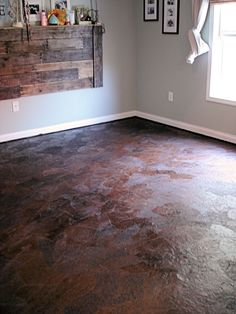 Brown Paper Flooring DIY. Alternative to hard wood floors using brown craft paper and stain. hmmm...