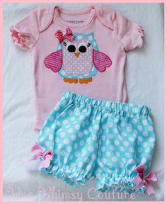 Super Cute Whimsical Owl Applique Onesie and Bloomers Applique Onesie, Owl Applique, Sewing For Kids, Baby Sewing, Boy Onesie, Onesies, My Baby Girl, Baby Love, Cute Kids