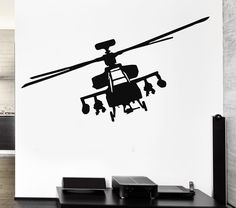 Vinyl Decal Wall Sticker Helicopter Apache Fighter Marine Aviation Army Navy Military Decor (ig818)