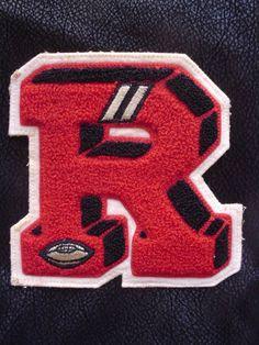 """Vintage Varsity Football Letter Jacket Letter """"R"""" Red Black"""