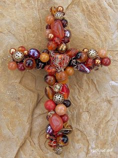 """6"""" Beaded Wire Wall Cross with cloisonne heart focal, gemstones, glass, ceramic and metal beads."""