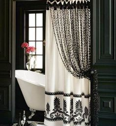 Long Shower Curtain Ideas With Luxury Black And White Accents Bathroom Decor